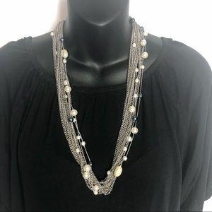 Jewelry - Multi Strand Silver Chain/Bead Necklace [B1]